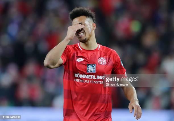 Karim Onisiwo of FSV Mainz reacts during the Bundesliga match between 1. FSV Mainz 05 and Borussia Moenchengladbach at Opel Arena on March 09, 2019...
