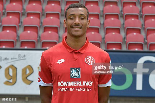 Karim Onisiwo poses during the official team presentation of 1 FSV Mainz 05 at Opel Arena on July 25 2016 in Mainz Germany