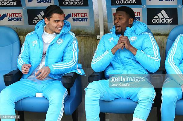 Karim Rekik and Abou Diaby of OM seat on the bench during the French Ligue 1 match between Olympique de Marseille and AS SaintEtienne at New Stade...