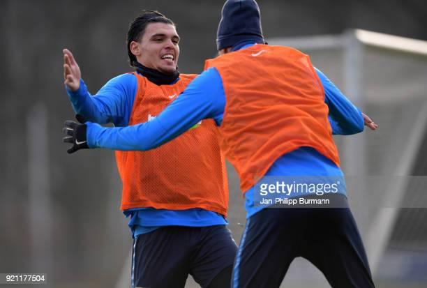 Karim Rekik and Davie Selke of Hertha BSC in action during the training at the Schenkendorfplatz on february 19 2018 in Berlin Germany