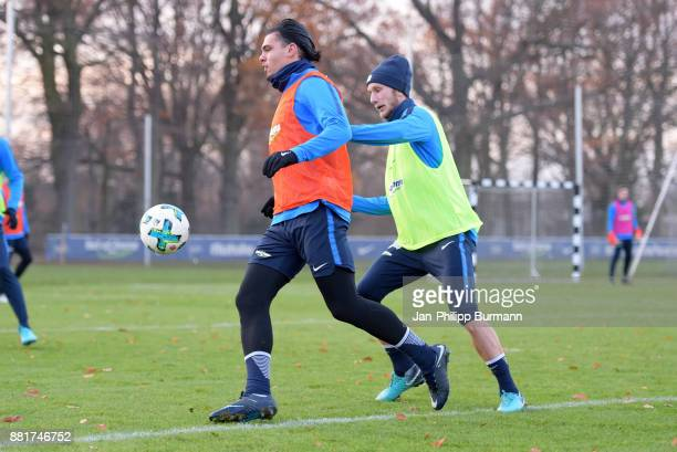 Karim Rekik and Fabian Lustenberger of Hertha BSC during the training on November 29 2017 in Berlin Germany
