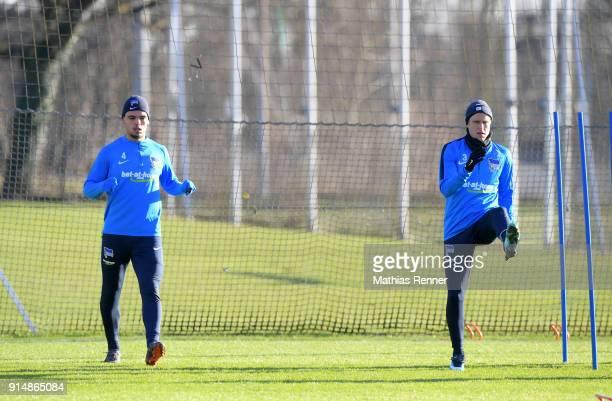 Karim Rekik and Per Skjelbred of Hertha BSC during the training session at the Schenkendorfplatz on february 6 2018 in Berlin Germany