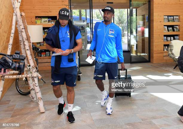 Karim Rekik and Salomon Kalou of Hertha BSC during a training camp on July 31 2017 in Schladming Austria