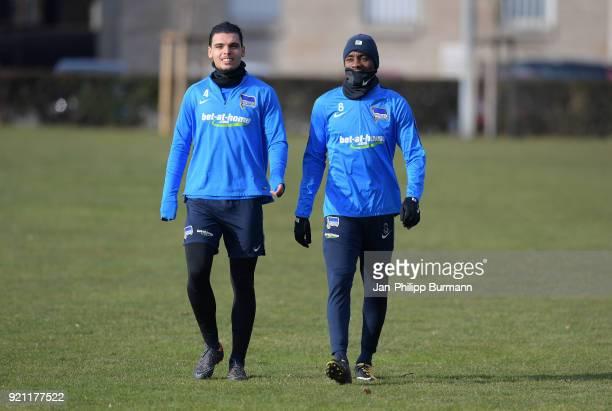Karim Rekik and Salomon Kalou of Hertha BSC during the training at the Schenkendorfplatz on february 19 2018 in Berlin Germany