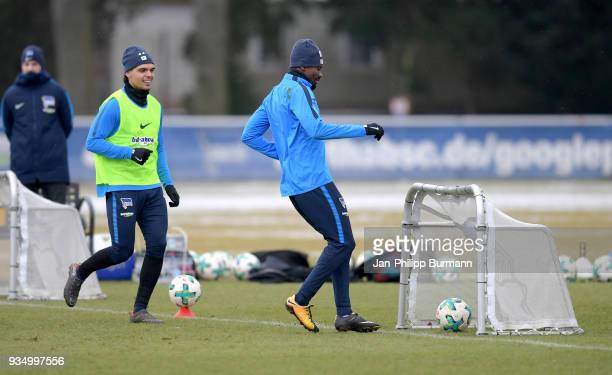 Karim Rekik and Salomon Kalou of Hertha BSC during the training at Schenkendorfplatz on March 20 2018 in Berlin Germany