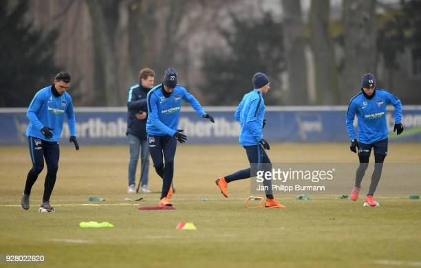 Karim Rekik Davie Selke Mitchell Weiser and Ondrej Duda of Hertha BSC during the training session at the Schenkendorfplatz on march 6 2018 in Berlin...