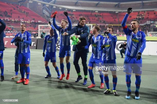 Karim Rekik Fabian Lustenberger Arne Maier Dennis Smarsch Ondrej Duda Vladimir Darida and Vedad Ibisevic of Hertha BSC after the game between the 1FC...
