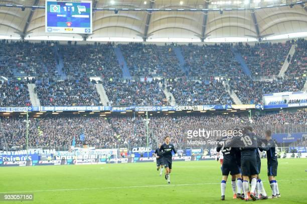 Karim Rekik Niklas Stark Arne Maier Vedad Ibisevic and Vladimir Darida of Hertha BSC celebrate after scoring the 12 during the Bundesliga game...