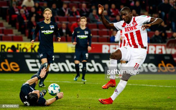 Karim Rekik of Berlin blocks the shot of Sehrou Guirassy of Koeln during the Bundesliga match between 1 FC Koeln and Hertha BSC at...