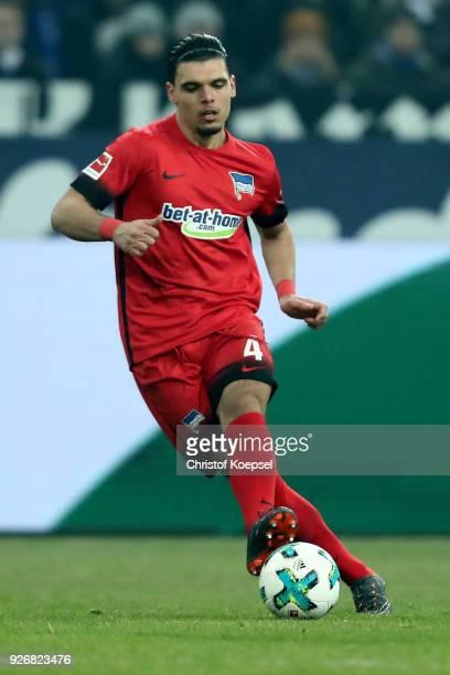 Karim Rekik of Berlin runs with the ball during the Bundesliga match between FC Schalke 04 and Hertha BSC at VeltinsArena on March 3 2018 in...