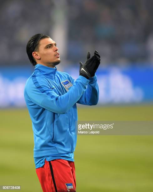 Karim Rekik of Hertha BSC before the first Bundesliga match between Schalke 04 against Hertha BSC at the VeltinsArena on March 3 2018 in...