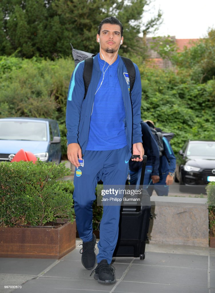 Karim Rekik of Hertha BSC during a training camp on July 12, 2018 in Neuruppin, Germany.