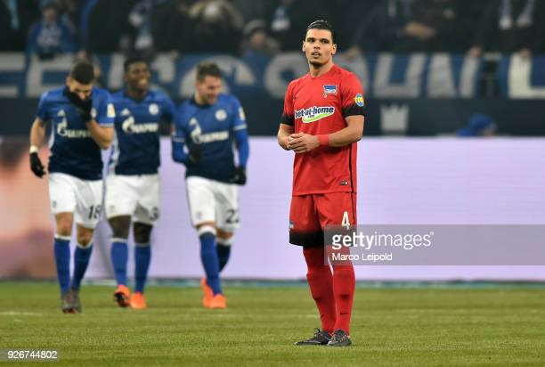Karim Rekik of Hertha BSC during the first Bundesliga match between Schalke 04 against Hertha BSC at the VeltinsArena on March 3 2018 in...