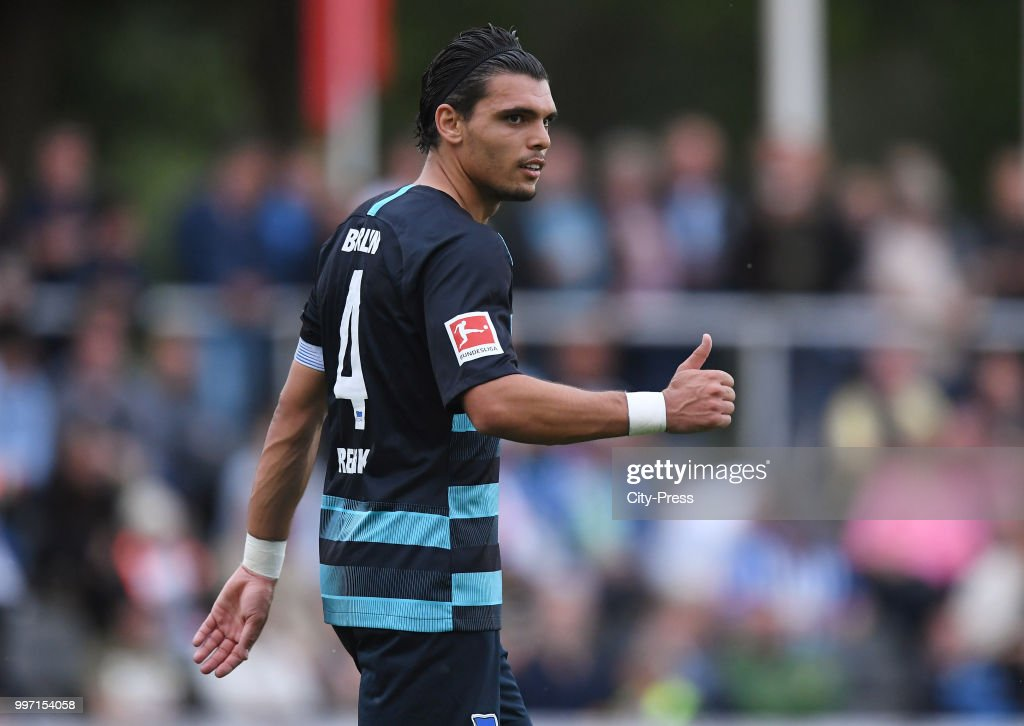 Karim Rekik of Hertha BSC during the game between MSV Neuruppin against Hertha BSC at the Volkspar-Stadion on july 12, 2018 in Neuruppin, Germany.