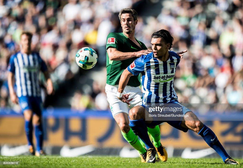 Karim Rekik of Hertha BSC is challenged by Fin Bartels of SV Werder Bremen during the Bundesliga match between Hertha BSC and SV Werder Bremen at Olympiastadion on September 10, 2017 in Berlin, Germany.