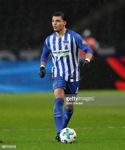 Karim Rekik of Hertha BSC runs with the ball during the Bundesliga match between Hertha BSC and Hannover 96 at Olympiastadion on December 13 2017 in...