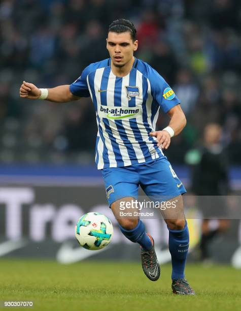 Karim Rekik of Hertha BSC runs with the ball during the Bundesliga match between Hertha BSC and SportClub Freiburg at Olympiastadion on March 10 2018...
