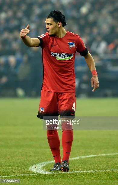 Karim Rekik of Hertha gestures during the Bundesliga match between FC Schalke 04 and Hertha BSC at VeltinsArena on March 03 2018 in Gelsenkirchen...