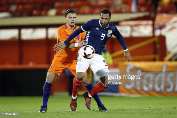Karim Rekik of Holland Matt Phillips of Scotland during the friendly match between Scotland and The Netherlands on November 09 2017 at Pittodrie...