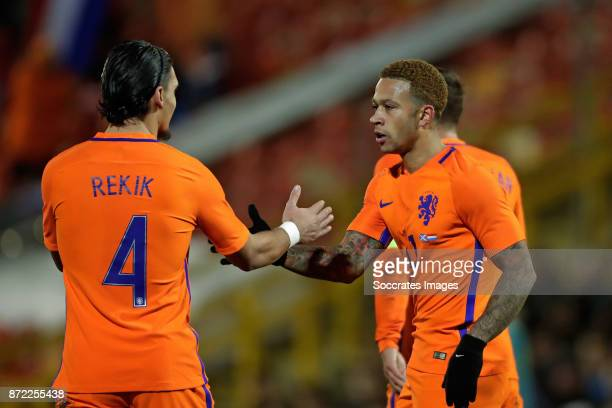 Karim Rekik of Holland Memphis Depay of Holland during the International Friendly match between Scotland v Holland at the Pittodrie Stadium on...
