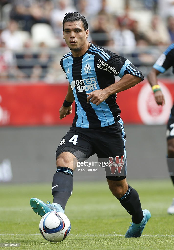 Karim Rekik of Olympique de Marseille in action during the French Ligue 1 match between Stade de Reims and Olympique de Marseille (OM) at Stade Auguste Delaune on August 16, 2015 in Reims, France.