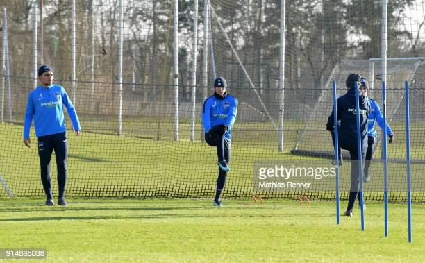 Karim Rekik Per Skjelbred athletic trainer Hendrik Vieth and Palko Dardai of Hertha BSC during the training session at the Schenkendorfplatz on...