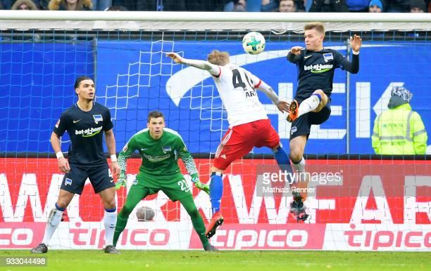 Karim Rekik Rune Almenning Jarstein of Hertha BSC JannFiete Arp of Hamburger SV and Maximilian Mittelstaedt of Hertha BSC during the Bundesliga game...