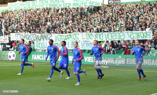 Karim Rekik Valentino Lazaro Palko Dardai Fabian Lustenberger and Arne Maier of Hertha BSC before the Bundesliga match between SV Werder Bremen and...