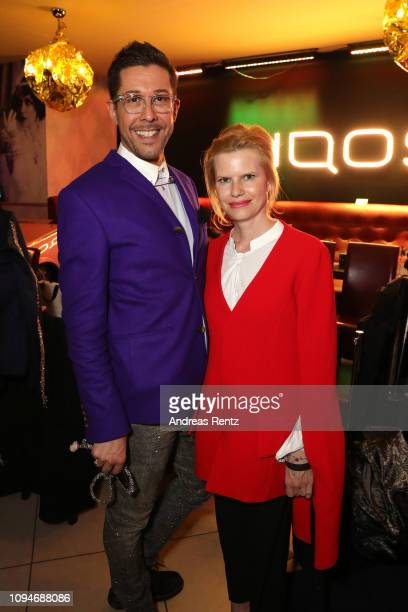 Karim Sattar and Nicoline Woehrle attend the William Fan Defile during 'Der Berliner Salon' Autumn/Winter 2019 at Knutschfleck on January 15 2019 in...