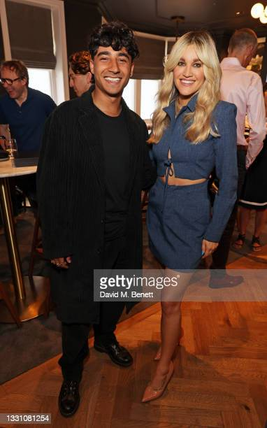 Karim Zeroual and Ashley Roberts attend a brunch to celebrate the partnership between World Mobile and Fulham FC at Craven Cottage on July 28, 2021...
