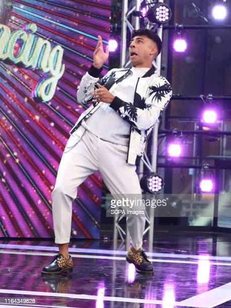 Karim Zeroual arrives onstage during the BBC Strictly Come Dancing Launch at Broadcasting House in London