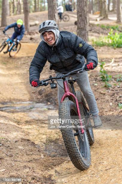 Karim Zeroual trains on a cycle track on February 11 2020 in Bracknell England The celebrities are training for Sport Relief On Thin Ice as they...
