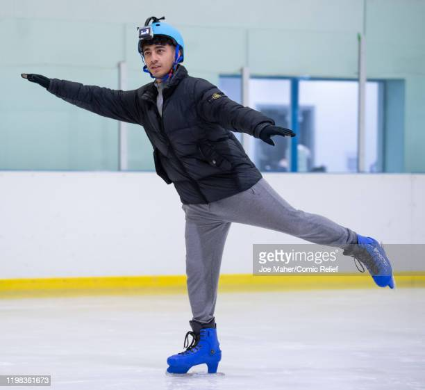 Karim Zeroual trains on an ice rink for Sport Relief On Thin Ice as the celebrities prepare to cycle skate and trek 100 miles across Lake Khövsgöl in...