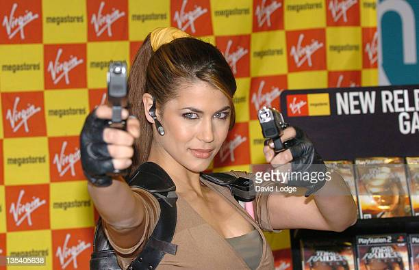Karima Adebibe during Karima Adebibe as Lara Croft Signs Copies of Tomb Raider Legends at Virgin Megastore in London April 7 2006 at Virgin Megastore...