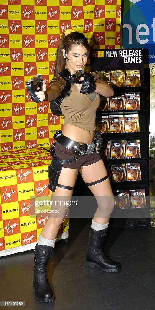 "Karima Adebibe as Lara Croft Signs Copies of ""Tomb Raider Legends"" at Virgin Megastore in London - April 7, 2006 : News Photo"