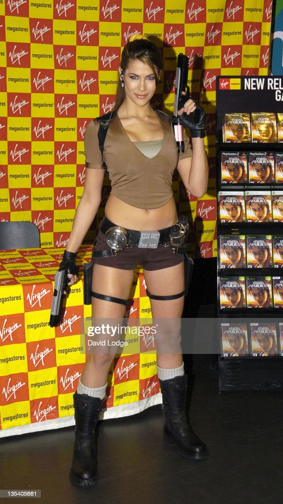 "Karima Adebibe as Lara Croft Signs Copies of ""Tomb Raider Legends"" at Virgin Megastore in London - April 7, 2006 : News Photo"