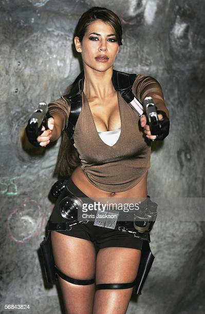 Karima Adebibe is announced as the new face of movie action star Lara Croft at Westway Sports Centre on February 14 2006 in London to celebrate...