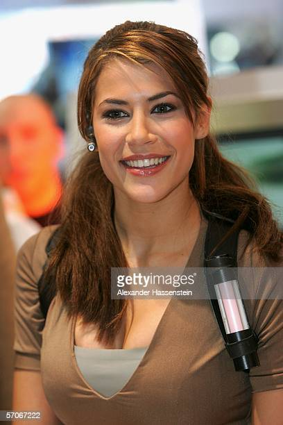 Karima Adebibe the new face of Tomb Raider action heroine Lara Croft poses during a photocall March 13 2006 in Hamburg Germany