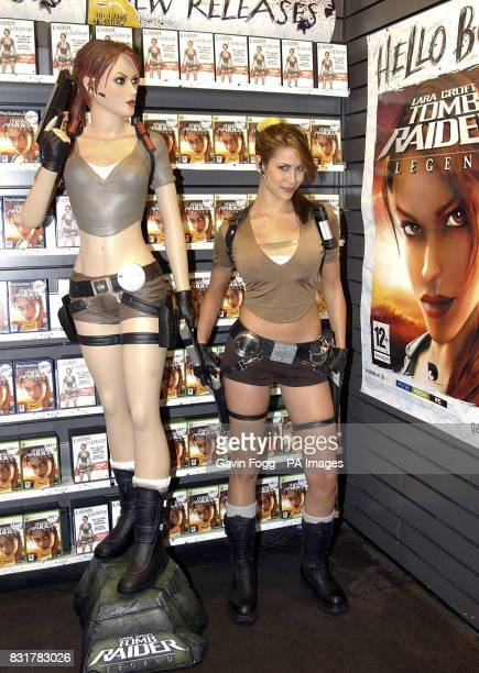 Karima Adebibe the new Laura Croft visits Gamestore in Birmingham for the launch of the latest version of the computer game Tomb Raider Legend PTRESS...