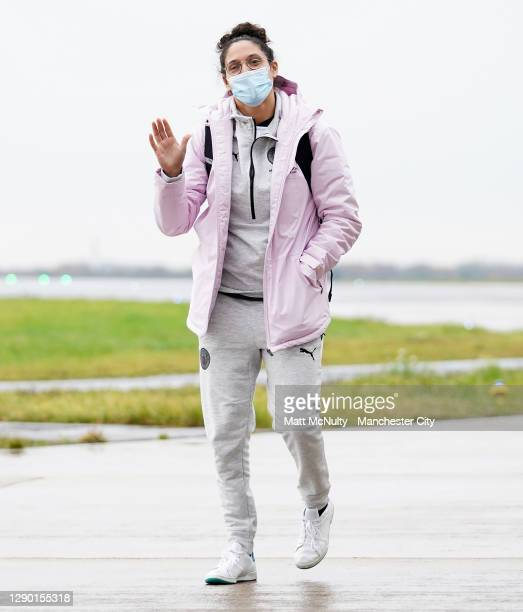 Karima Benameur of Manchester City boards the team flight at Manchester Airport for the trip to Gothenburg on December 08, 2020 in Manchester,...