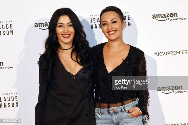 Karima Charni and Hedia Charni attend the Amazon TV Serie 'Jean Claude Van Jonhson' Paris Premiere At Le Grand Rex on December 12 2017 in Paris France