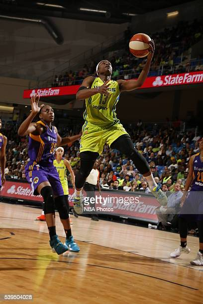 Karima Christmas of the Dallas Wings goes to the basket against the Los Angeles Sparks on June 11 2016 at College Park Center in Arlington Texas NOTE...