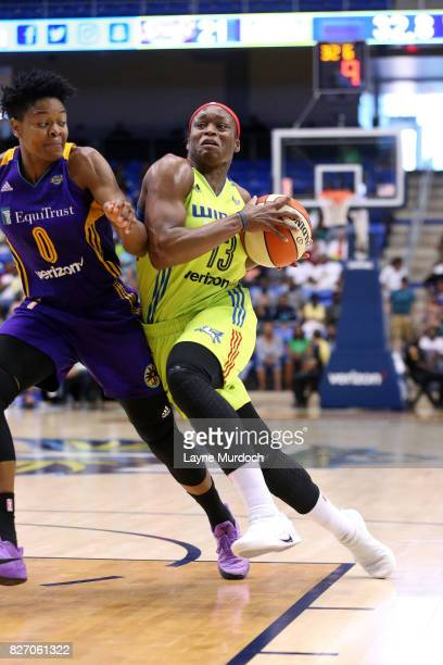 Karima ChristmasKelly of the Dallas Wings drives to the basket during the game against the Los Angeles Sparks during a WNBA game on August 6 2017 at...