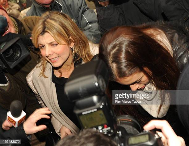 Karima El Mahroug arrives to testify at Silvio Berlusconi trial on January 14 2013 in Milan Italy