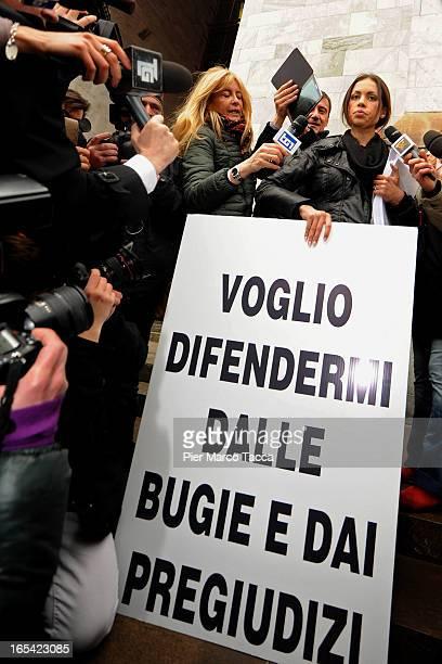 Karima El Mahroug protests in front of Palazzo di Giustizia on April 4 2013 in Milan Italy Karima El Mahroug better known as 'Ruby the Heart Stealer'...