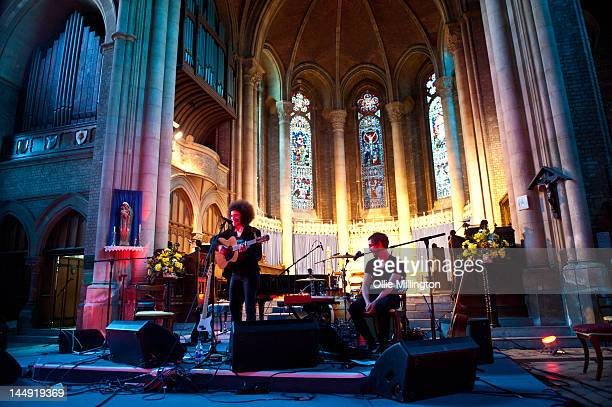 Karima Francis performs on stage at St Mary's Church during the last day of The Great Escape Festiva on May 12 2012 in Brighton United Kingdom