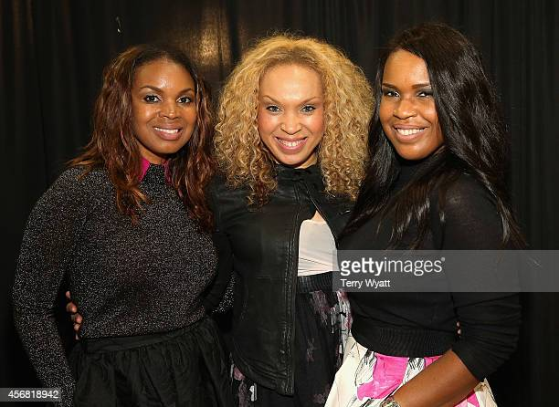 Karima Kibble, Heather Martin, and Ebony Holland of Virtue backstage at the 45th Annual GMA Dove Awards at Allen Arena, Lipscomb University on...