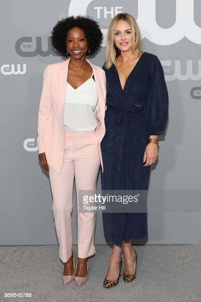 Karimah Westbrook and Monet Mazur attend the 2018 CW Network Upfront at The London Hotel on May 17 2018 in New York City