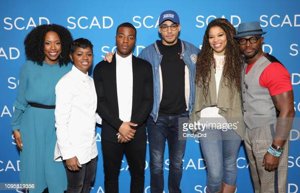 Karimah Westbrook BreZ Daniel Ezra Micahel Evans Behling Nkechi Okoro Carroll and Taye Diggs attend the All American panel during SCAD aTVfest 2019...