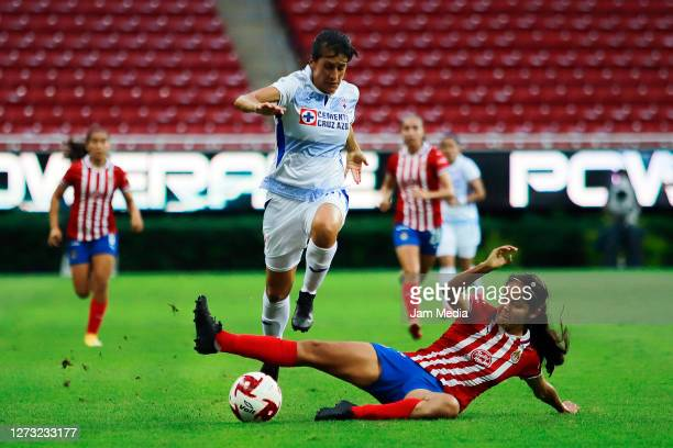 Karime Abud of Cruz Azul fights for the ball with Miriam Garcia of Chivas during the 6th round match between Chivas and Cruz Azul as part of the...